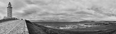 torre de hrcules   .   tower of hercules (Antnio Alfarroba) Tags: ocean sea panorama espaa lighthouse mar view wind stormy panoramic galicia panoramica farol stitched vento panoramique corunha panormica acorunha