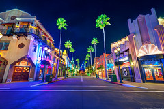 Imagine a Theater Instead of a Hat (TheTimeTheSpace) Tags: night stars nikon neon glow disney palmtrees disneyworld waltdisneyworld d800 hollywoodboulevard hollywoodstudios nikon142428