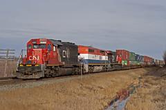 CN 5367 Kapasawin Alberta (Trevor Sokolan) Tags: canada cn train diesel rail railway ab canadian stack alberta locomotive railfan cnr emd intermodal gmd sd402 c408m kapasawin
