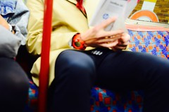 Funky fashion sense (Huey Yoong) Tags: city uk greatbritain england london train underground unitedkingdom britain capital watch tube streetphotography funky outoffocus casio suit trenchcoat manualfocus gshock brits oof londoners travelphotography fashionsense nikkor50mmf18ais chillired nikond600 shotthroughthehip