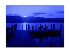 Full moon tonight (edenseekr) Tags: blue lake evening moonrise moonlight watercoloreffect lakegeorgeny digitallypainted digitalartpainting