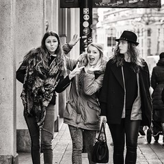 don't be silly (Gerard Koopen) Tags: street girls bw nikon funny eyecontact belgium belgie candid streetphotography antwerp antwerpen 135mm streetshot straatfotografie 2013 lunaphoto dontbesilly lunagallery