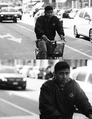 [La Mia Citt][Pedala] (Urca) Tags: portrait blackandwhite bw italia milano bn ciclista biancoenero bicicletta pedalare 2013 6029 dittico ritrattostradale