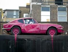 3501181a (5個人設計編輯部) Tags: street uk pink brick london art sports car skeleton skull graffiti paint neon stock culture banksy nobody east lane vandalism vehicle 30102004 pymca notpersonality 00037098 21240908
