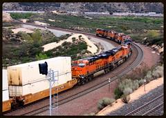 Plenty of head end power (SemmyTrailer) Tags: california usa pass trains stack ge railways bnsf locomotives cajon railroads