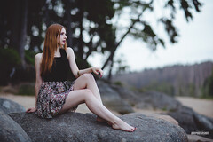 Cintia / on the rocks (onephotoshot) Tags: trees woman lake sexy love water girl beautiful beauty fashion female forest outside model rocks close legs bokeh stones awesome 85mm skirt location shooting 12 lovely redhair retouch technique edit feelings longlegs lightroom photoshooting rednailvarnish