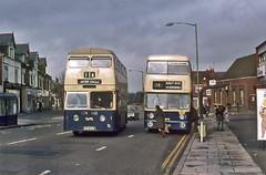 Fleetlines in Cotteridge (geoff7918) Tags: birmingham daimlerfleetline 1962 243doc 3243 cotteridge watfordrd outercircle11a 18 yardleywood postoffice