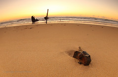 Stuck in the sand for eternity (Howard Ferrier) Tags: oceania sand sunrise lens fisheye australia gold sea coralsea queensland waves seq ssdickey beach warm sunshinecoast dawn curve photography rust shipwreck dickybeach caloundra marinevessel transport dickeybeach