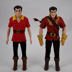 Deluxe vs Designer Gaston 12 Inch Dolls - In Full Outfits - Full Front View (drj1828) Tags: us disneystore dfdc heroesandvillains disneyfairytaledesignercollection 2016 gaston purchase deboxed deluxedollgiftset beautyandthebeast comparison