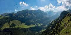 Goodbye lovely summer (Martin Häfeli Photography) Tags: summer daytime day sun cloudy clouds mountains mountain appenzellerland appenzell ebenalp paraglider gleitschirm green blue panorama pano panoramic switzerland nikon d7200 nikkor 1024mm weitwinkel wideangle wide angle peak säntis seealpsee lens trees berg bergwelt bergsee lake