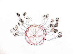 around Nothing (Ines Seidel) Tags: newspaper wire words letters paper circle object weird zeitungspapier buchstaben empty leer kreis objekt worte draht