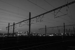 Night railways (AlyonaOrlova) Tags: nikon d5300 railways sky evening night monochrome blackandwhite prague czech city lights