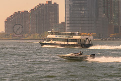 Color of Autumn 2016 in NYC (Speed Boat and Ferry traveling along Hudson River with New Jersey Waterfront in View) (nrhodesphotos(the_eye_of_the_moment)) Tags: dsc0164672 theeyeofthemoment21gmailcom wwwflickrcomphotostheeyeofthemoment colorofautumn2016innyc autumn season outdoor metal glass windows transportation perspective waterfront speedboat ferryboat hudsonriver manhattan nyc jerseycity newjersey skyline architecture wake people candid clock colgatebuilding outdoorevent reflections shadows