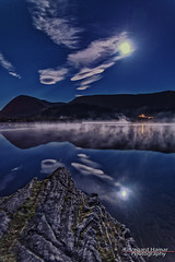 Full moon over the lake (Usstan) Tags: night nikon calm mist mountains moon lake cold norway seasons blue sunnmre rsta autumn d750 landscape lens sigma outdoor rocks 1224mm locations moonlight reflecions dark reflection clouds sky water mreogromsdal shadows hovdebygda norge mreogromsdal sunnmre rsta no