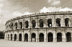Nimes Arena in Pencil (big_jeff_leo) Tags: nimes france roman temple arena building stone ancient architecture city facade fountain french empire old pilar column