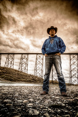 Hero Shot (Blue Trail Photography) Tags: me myself lethbridge old man river coulee valley gorge high level bridge south west alberta hdr hero shot train sky cloud water canada cowboy hat boots nature outdoor indian battle park