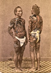 Bettos or grooms tattooed a la mode [front view]  ca. 1870 (SSAVE w/ over 6 MILLION views THX) Tags: japan 1870 bettoes horsegrooms underwear fundoshi japanese
