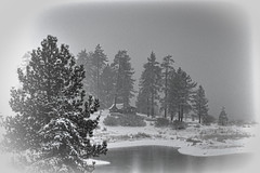 Cabin in the woods (Exdeltalady) Tags: monochrome cabin woods lake bigbearlake winter winterwonderland serenity peacefull topaz landscape