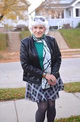 Neighborhood Exposure (Laurette Victoria) Tags: sidewalk jacket autumn mini skirt tights scarf silver laurette woman milwaukee