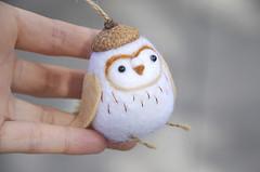 Barn Owl ornament (noristudio3o) Tags: needle felted barn owl ornament handmade noristudio christmas ornamnet white artisan