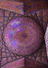 The nasir ol molk mosque ceiling with its beautiful colors, Fars province, Shiraz, Iran (Eric Lafforgue) Tags: 0people architectural architecture art beautiful ceiling colorimage colored colour cultural culture decoration heritage historical history indoors iran islam middleeast morning mosque mulk multicoloured multicolored muslim nasiralmulk nopeople nobody orient ornate pattern persia photography pinkmosque placeofinterest prayerhall qajarera religious rosesmosque shiraz tourism touristic tranquility traveldestinations vertical farsprovince
