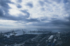 The Cloudy Industrial Port (Maximecreative) Tags: select port harbour barcelona spain catalonia industrial landscape clouds cloudy atmospheric dark containers activity business birdeye view sea mediterranean skyline outdoors dramatic boats cargo