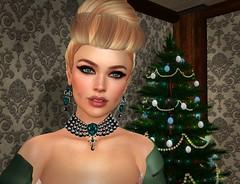 I Think There's a Christmas Tree Stalking Me (lauragenia.viper) Tags: catwa izzies laboheme larahurley lumipro maitreya secondlifefashion virtualdiva we3roleplay zurijewelry avatar secondlife blond blonde updo elegant christmas christmastree dimples necklace earrings