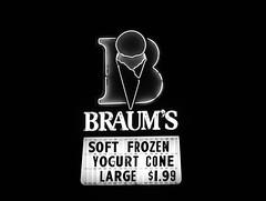 Braum's neon sign at night in Edmond, Oklahoma in B&W (kevinellison62) Tags: blackwhite neon signs braums edmond oklahoma restaurant