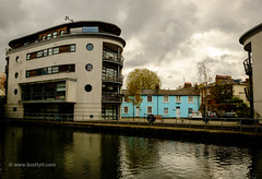Sky blue, sky grey (Scotty H..) Tags: camdentown england english london regentscanal uk apartments architecture blue building buildings canal canalside cottages grey homes houses modern outdoors terrace terraced towpath traditional urban waterway