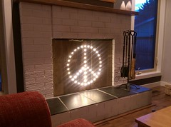 Pallet wood & led light fireplace cover (19alan67) Tags: pallet wood fireplace screen cover led lights diy homemade rustic peacesign