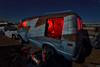 zee van. mojave desert, ca. 2015. (eyetwist) Tags: eyetwistkevinballuff eyetwist mojavedesert night junkyard ford econoline van groovy zstripe decay retired nikon nikond7000 d7000 nikkor capturenx2 1024mmf3545g fullmoon photography dark longexposure moonlight moonlit npy nocturne highdesert mojave desert california derelict long exposure angle wideangle wide faded patina weathered ruin lightpainting light painting edge details glow red interior steeringwheel bumper grille headlights old dusty car auto american west disco fireextinguisher z stripe