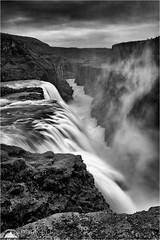 Gullfoss (Darkelf Photography) Tags: gullfoss waterfall falls iceland landscape hvita river canyon rocks clouds blackandwhite bw mono monochrome filter lee canon goldencircle travel 24105mm 5diii maciek gornisiewicz darkelf photography 2015