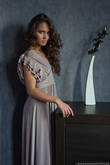 Artistic portrait of beautyful lady (Anton_ua) Tags: portrait woman flower cute beautiful beauty fashion vertical female standing hair one model glamour looking dress adult artistic interior young posing sensuality luxury elegance caucasian
