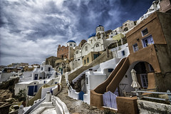 looking up at oia (EddyMixx) Tags: travel blue sky nikon colorful mediterranean greece destination daytime hdr oia aegeansea