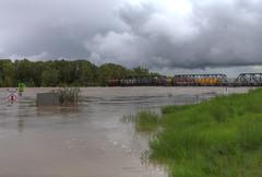Train parked on the bridge to help anchor it, Calgary AL - HDR (internat) Tags: canada calgary flood alberta hdr 2013