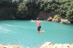 IMG_0403 (Clemence-e) Tags: blue boy summer man color nature water jump holidays colorful young lac move enjoy scared lack stcassien