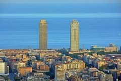 Barcelona - Spain (cpcmollet) Tags: street city blue summer urban espaa azul hotel espanha mediterranean cityscape view bcn arts cities bunker verano carmel vista blau espagne mediterrneo barcelone ciutat carmelo rovira espanya mapfre tur mediterrani
