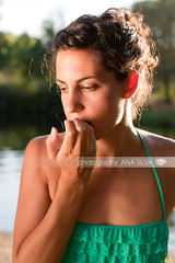 Worried woman biting nails (A_S_F) Tags: sunset summer portrait people woman nature girl beauty sunshine female river landscape outdoors person concentration athletic hands slim arms body expression muscular young sunny biting nails bikini worried worry bun fit tanned nailbiting greenash hairtied