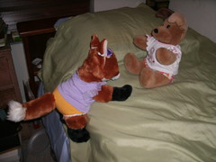 Fox meet Pup (Neoguest) Tags: plushies buildabearworkshop redfox diapered brownsugarpup