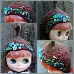 The Folklore Tonttu Helmet: Jade Pine (Euro_Trash) Tags: flowers blue brown helmet jade website gradient eurotrash tonttu handmadewithlove