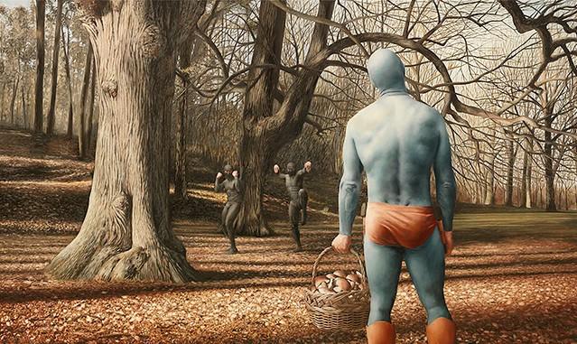 超有趣的「超級老頭英雄」油畫海報