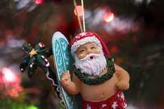 Surfin' Santa (theothernate) Tags: christmas macro snowman bokeh painted small christmastree lei wreath ornament palmtree surfboard santaclaus bathingsuit swimtrunks beautifulbokeh