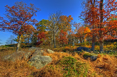 Gettysburg - Little Round Top southern slope (cmfgu) Tags: autumn fall leaves pennsylvania southern pa gettysburg civilwar national battlefield hdr highdynamicrange slope littleroundtop