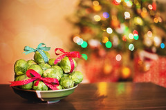 Christmas Brussels sprouts :) (Sigita JP) Tags: christmas brussels food bokeh christmaslights sprouts tabletop christmasstree vision:sunset=0528