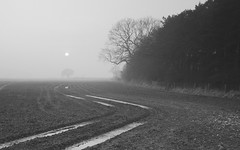 Misty Monochrome (Jonny Hirons) Tags: mist monochrome misty fog composition landscape mono scenery mood moody yorkshire curves foggy tracks atmosphere scene puddles atmospheric northyorkshire scenics curvature tyretracks tyremarks seizethemoment