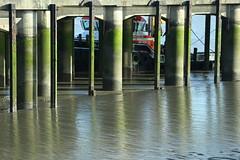 Erith Pier, Very low tide. (Grant Silvester) Tags: green pier boat mud very jetty lowtide algae tug riverthames erith portoflondon erithpier deepwaterwharf gpsavenger