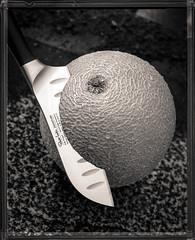 Foma Tes002 (Jon Ailes) Tags: stilllife film blackwhite cut 4x5 knives filmcamera melon largeformat foma fieldcamera gandolfi gandolfivariant