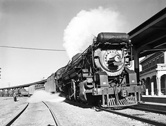 [Locomotive 653 Arriving at Depot, Texas & Pacific Railway Company] (SMU Central University Libraries) Tags: trains tp locomotives railroads trainstations tenders depots texaspacificrailway texasandpacific