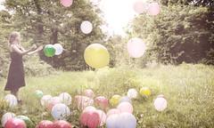 The Dream Merchant (Phantom Love Story) Tags: pink trees green grass balloons soft meadow dreamy