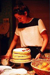 Ellen Makes Strawberry Chiffon Cake (jjldickinson) Tags: nikonf nikonfphotomicftn nikkor nikkors50mmf14 tiffen52mmsky1a fujicolorsuperiaxtra400 roll508n wrigley ellendickinson food cooking baking dessert cake strawberry strawberrychiffoncake longbeach